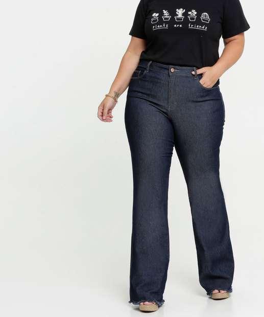 Image_Calça Jeans Flare Feminina Bolsos Plus Size Gups