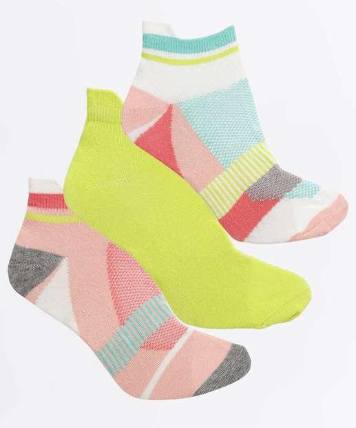 Image_Kit Feminino 3 Pares Meias Soquete Neon Estampada Marisa