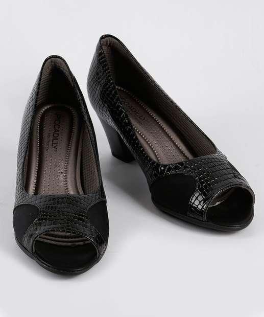 Verniz Peep Textura Peep Toe 714089 PRETO Feminino Toe Piccadilly CwvRHXqwn