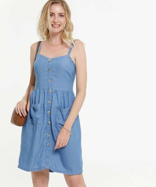 Image_Vestido Feminino Jeans Botões Alças Finas