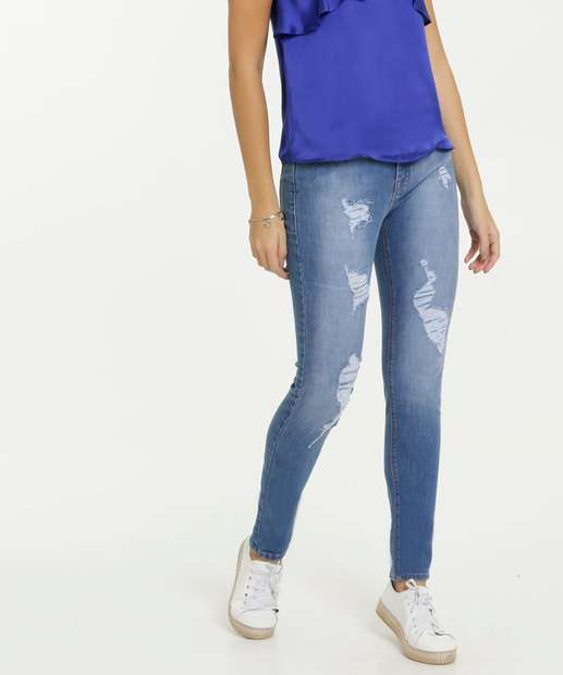Image_Calça Jeans Feminina Skinny Destroyed Marisa