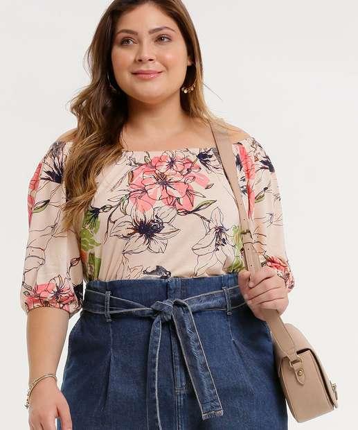 Image_Blusa Plus Size Feminina Ombro a Ombro Floral Marisa