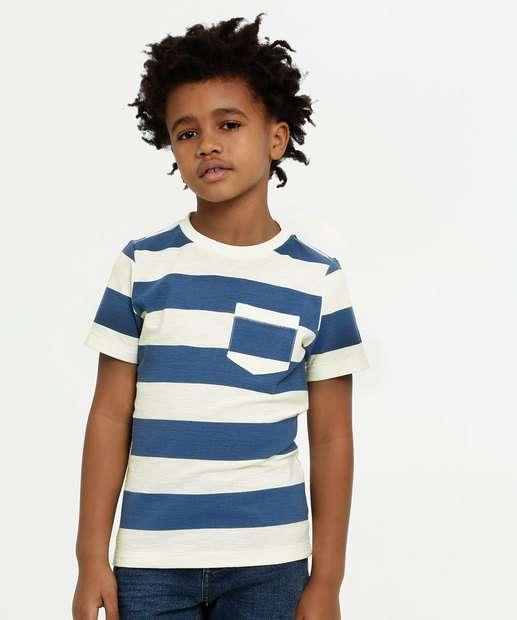 Image_Camiseta Infantil Listras Bolso Manga Curta MR