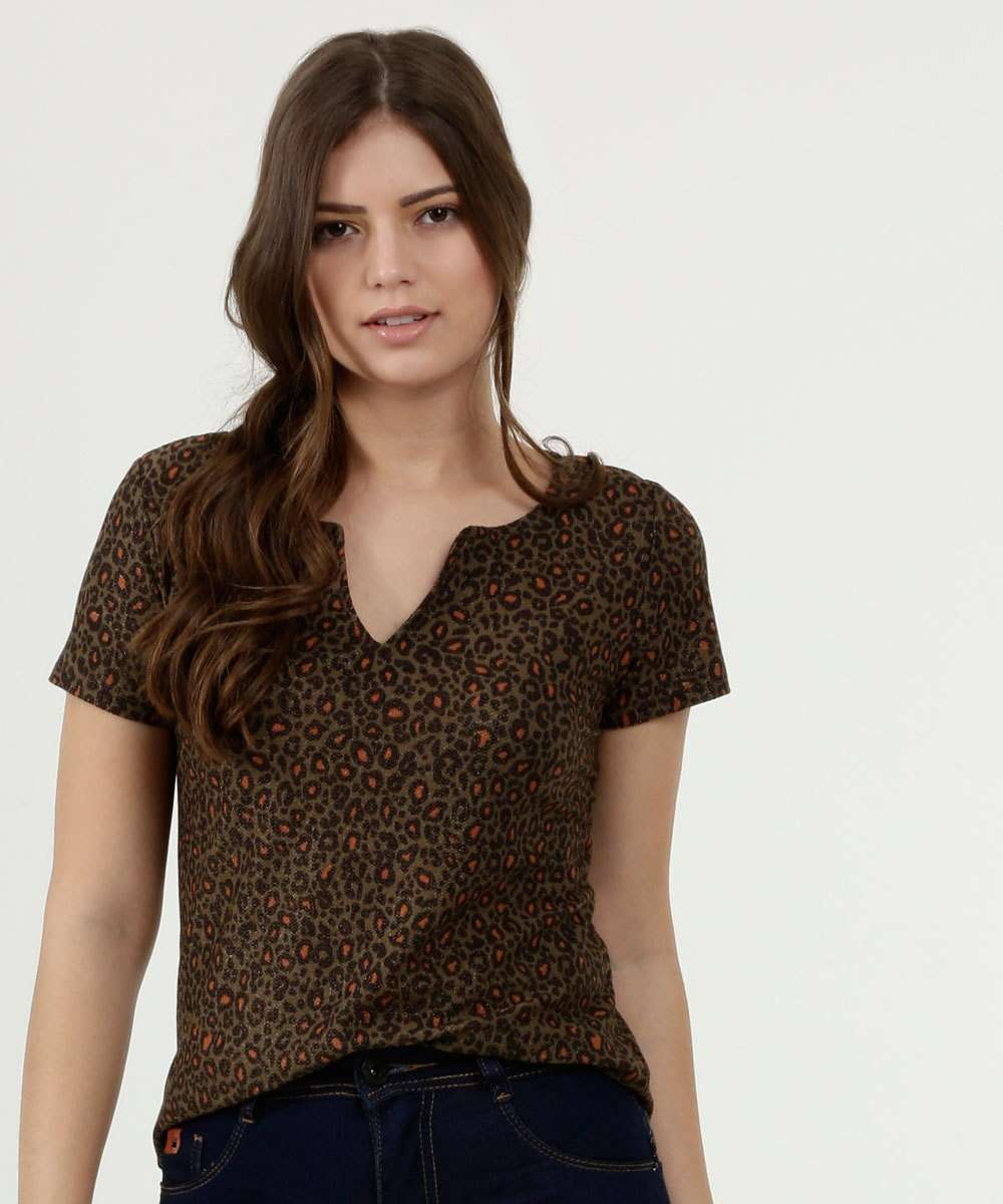 Blusa Feminina Estampa Animal Print Lurex Gups