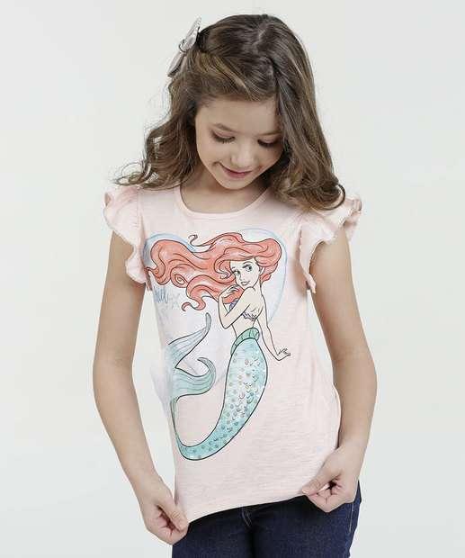 Image_Blusa Infantil Princesa Ariel Manga Curta Disney