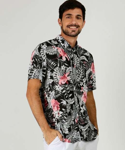 Image_Camisa Masculina Estampada Folhas Manga Curta