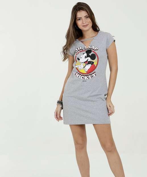 f41085eb9ec79 Vestido Feminino Estampa Mickey Manga Curta Disney