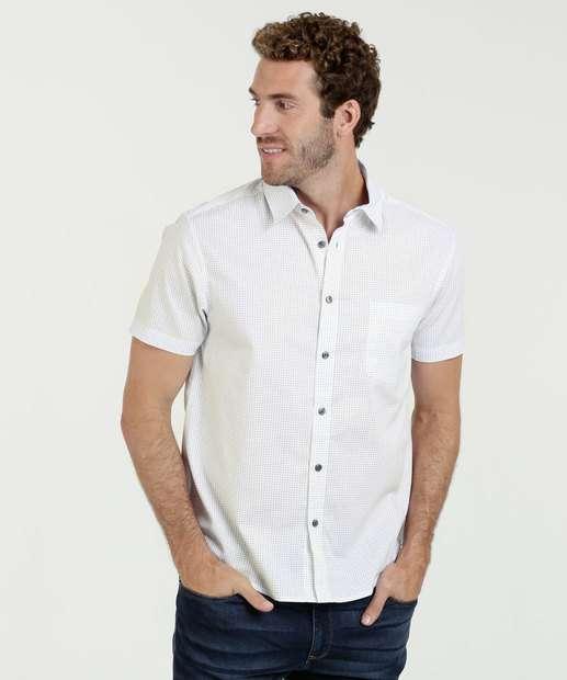 Camisa Masculina Estampa Bolinhas Manga Curta MR 0ad34f0c6f70f