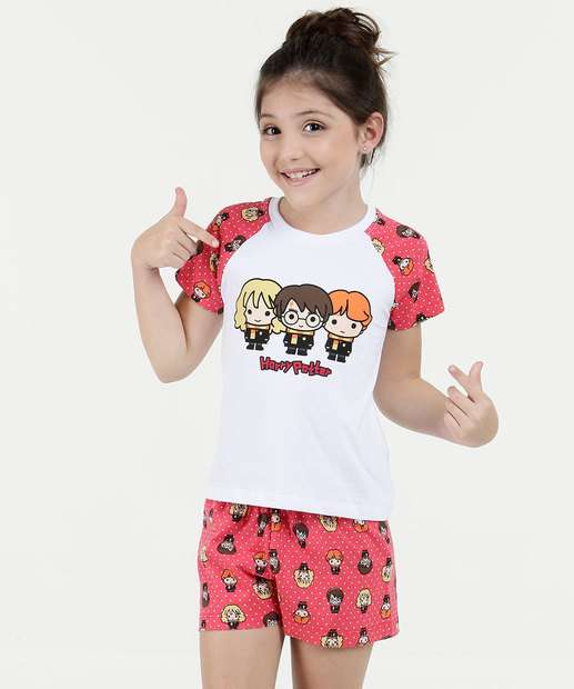 Pijama Infantil Estampa Harry Potter Manga Curta Warner 656f75e3fbbbf