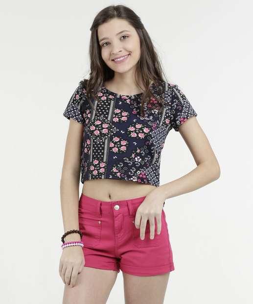 Image_Blusa Juvenil Estampa Floral Cropped Marisa