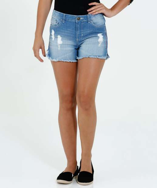 Image_Short Feminino Jeans Puídos Desfiado Marisa