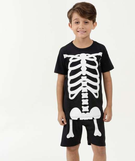 Image_Pijama Infantil Estampa Esqueleto Manga Curta MR