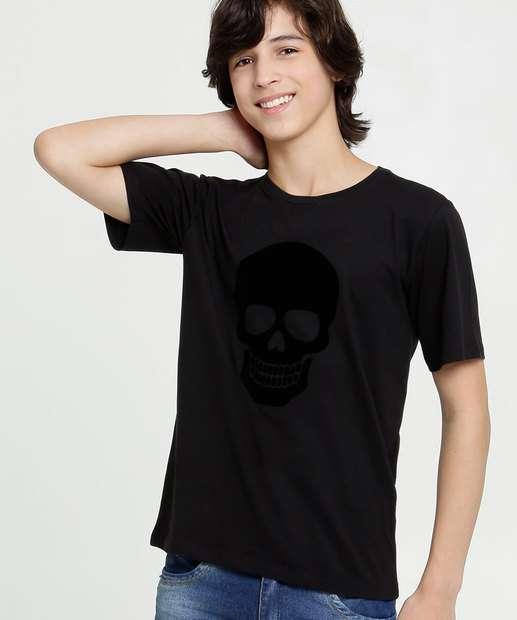 Image_Camiseta Juvenil Manga Curta Caveira Flocada MR Tam 10 a 16