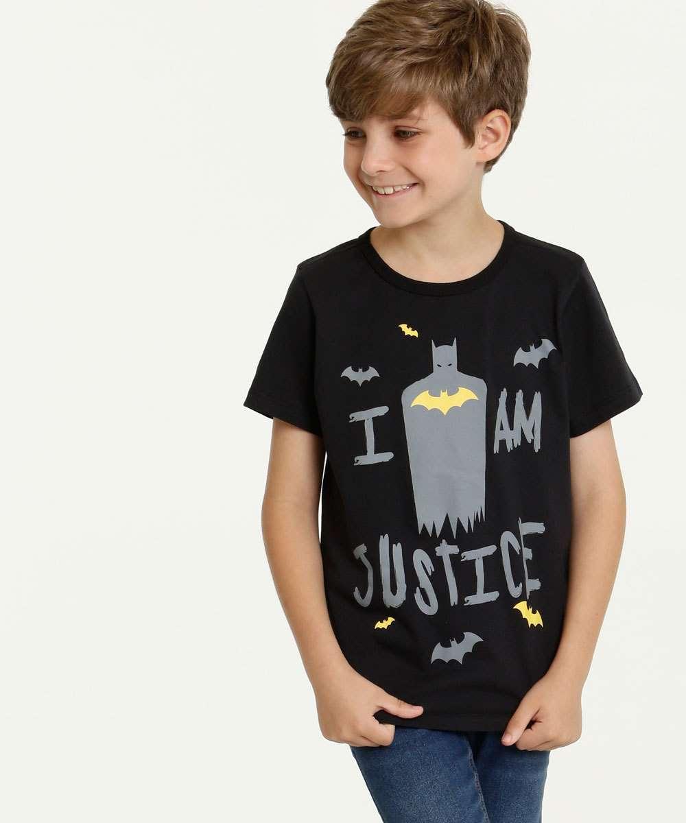 Camiseta Infantil Batman Manga Curta Liga da Justiça