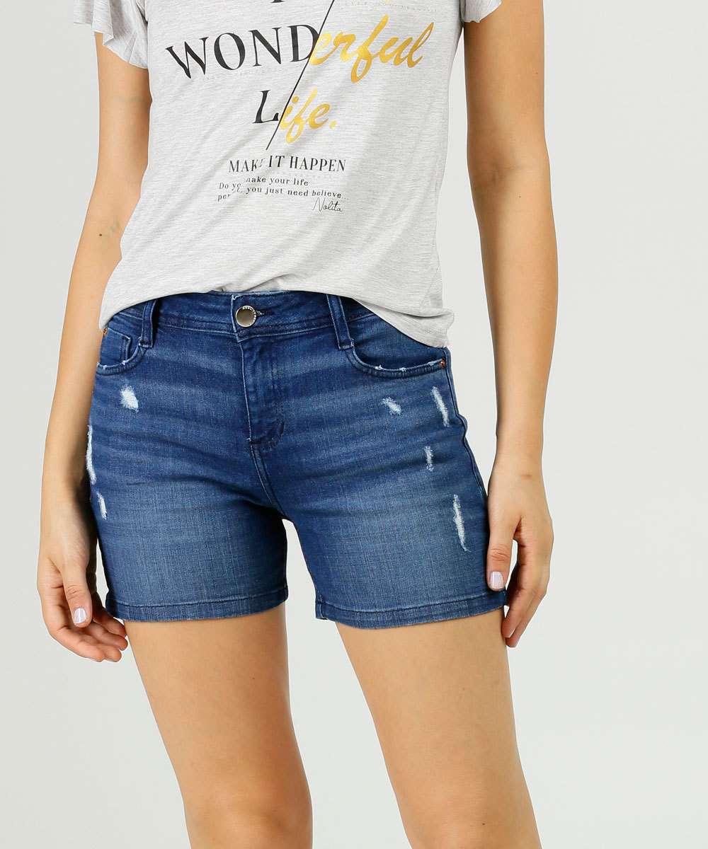 Short Jeans Puídos Feminino Bolsos Marisa