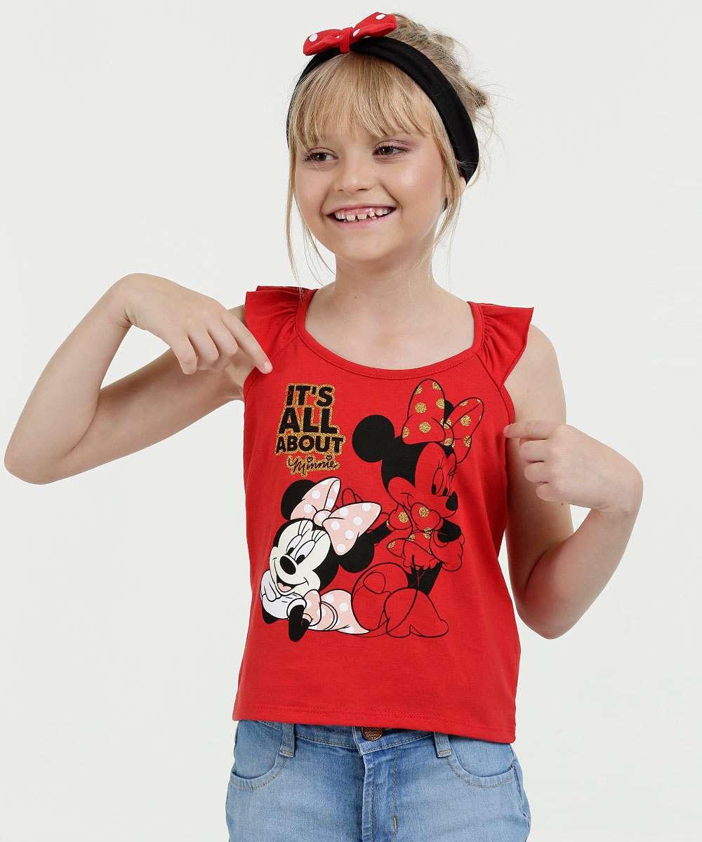 4288152b2a Blusa Infantil Estampa Minnie Babado Sem Manga Disney