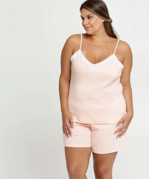Image_Pijama Feminino Recorte Renda Plus Size Alças Finas
