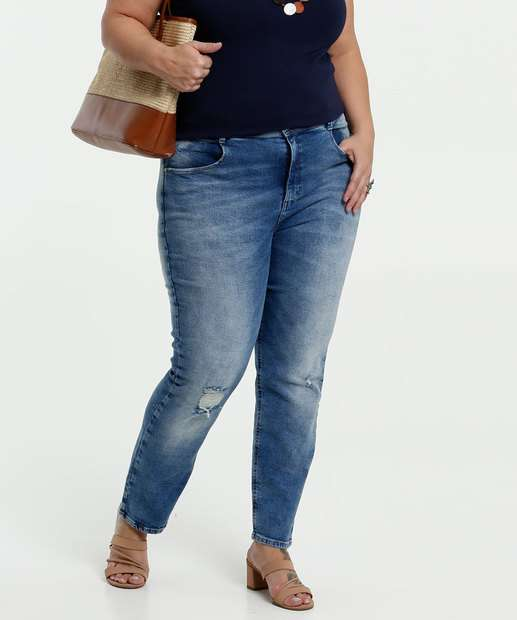 Image_Calça Feminina Jeans Destroyed Plus Size Stretch Marisa