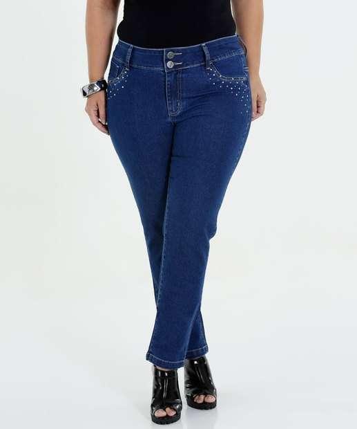 Image_Calça Feminina Jeans Skinny Strass Plus Size Marisa