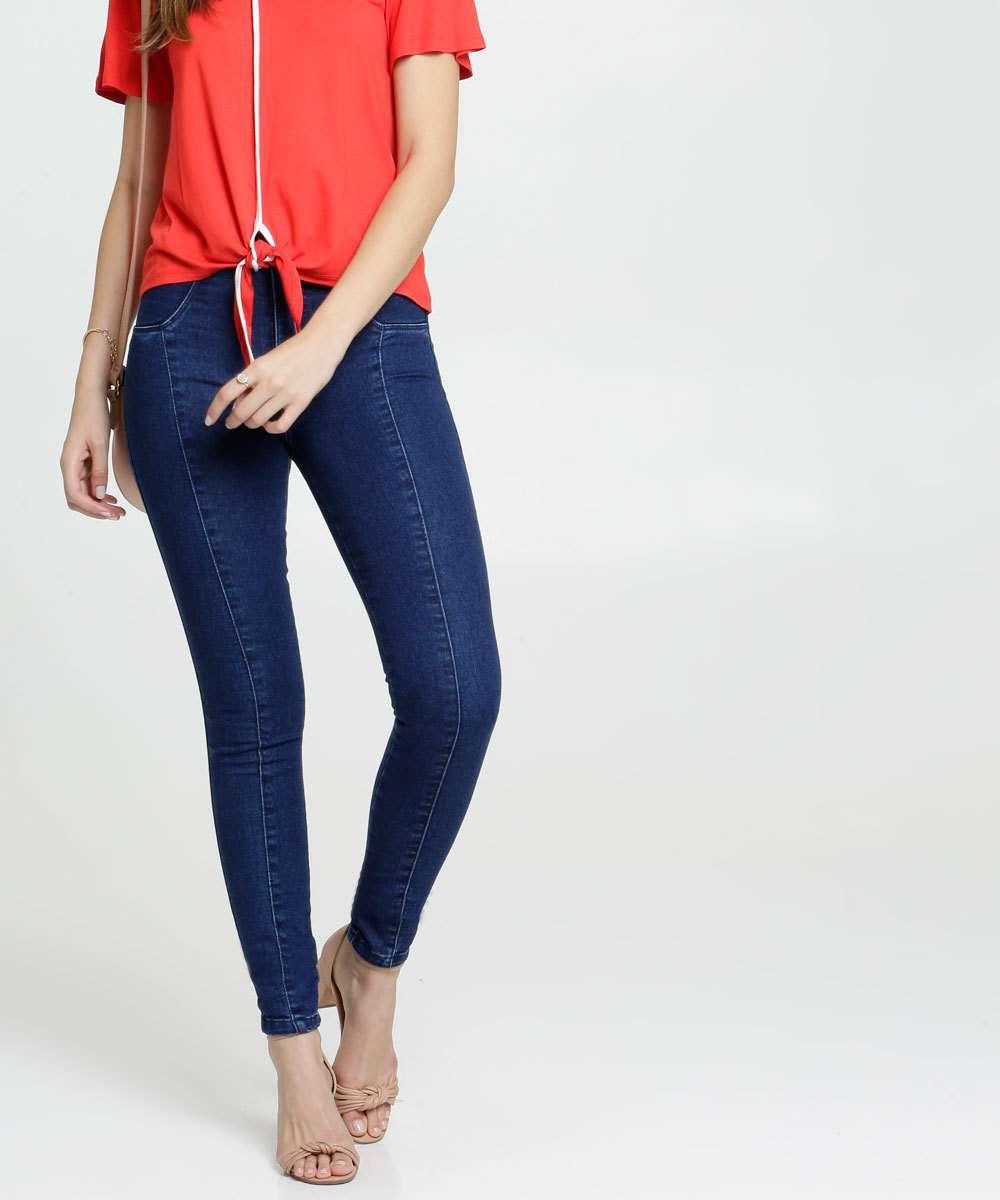 Calça Jeans Stretch Skinny Cinto Feminina Biotipo