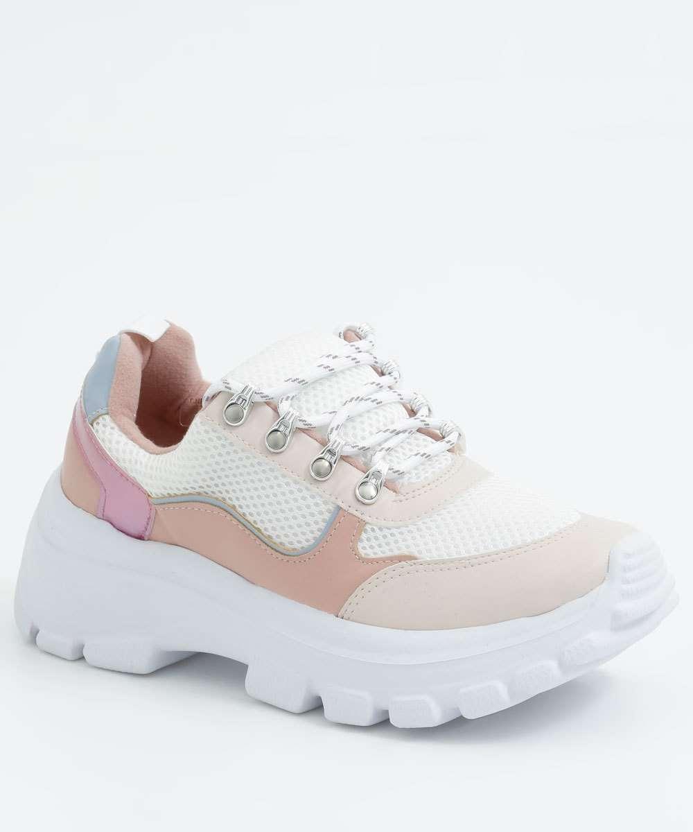 Tênis Feminino Chunky Sneaker Recorte Metalizado Vizzano