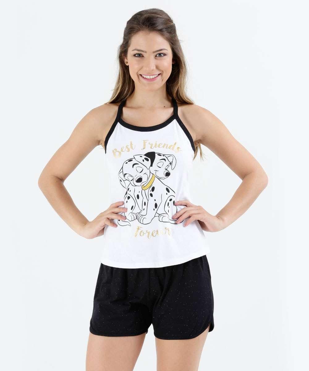 380264099 Pijama Feminino Short Doll Cetim Lilly Branco