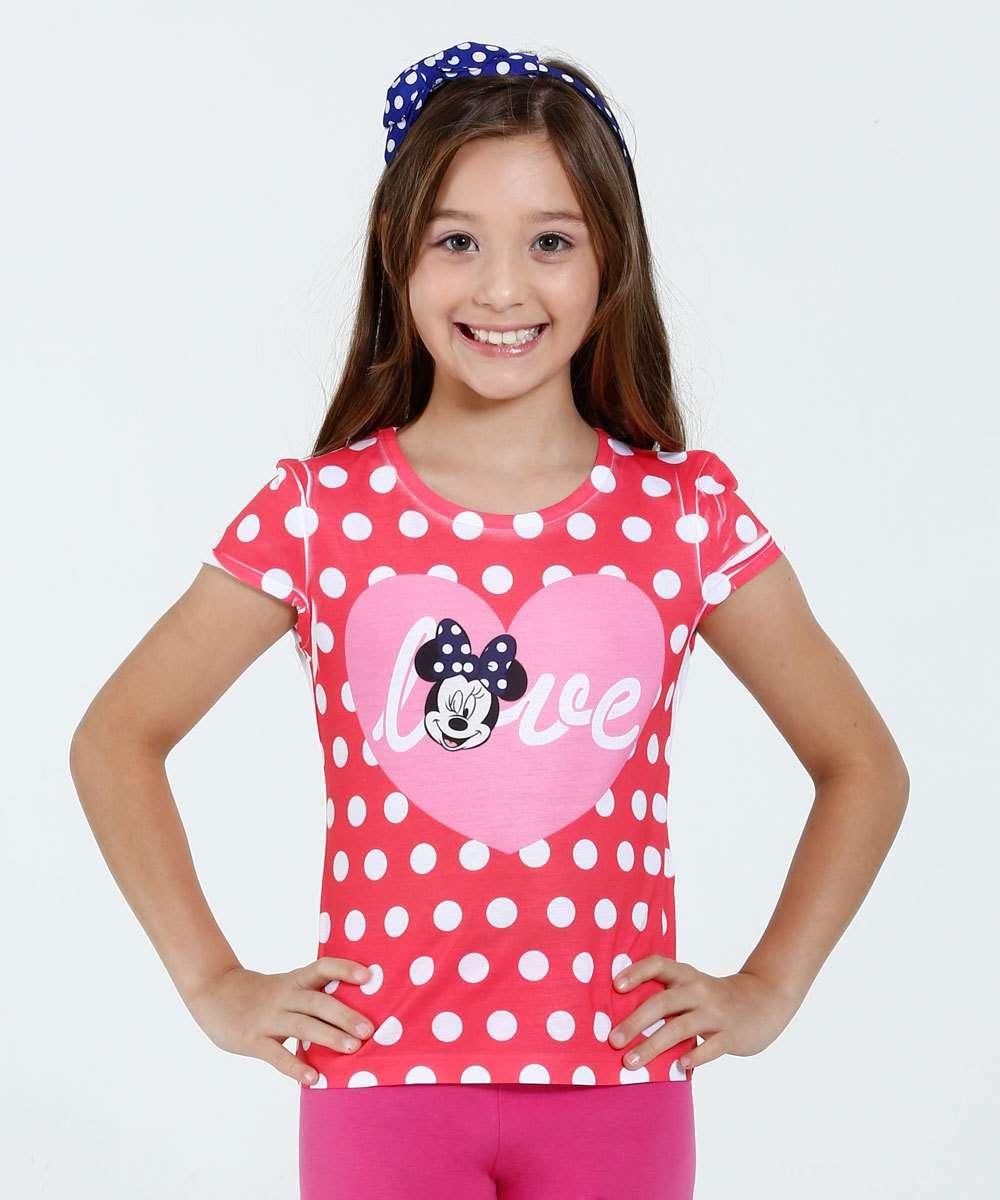 Blusa Infantil Manga Curta Bolinhas Minnie DisneyBlusa infantil, ideal para meninas de 04 a 10 anos, confeccionada em t...