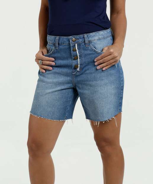 Image_Bermuda Feminina Jeans Puídos Cintura Média Marisa