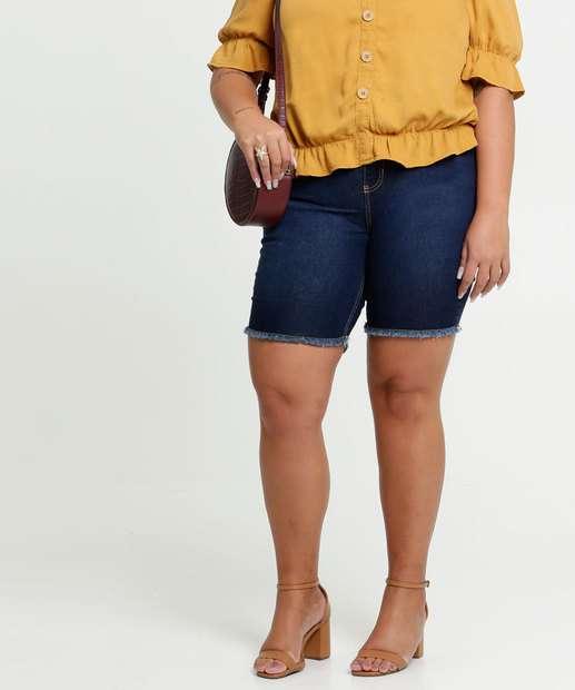 Image_Bermuda Feminina Jeans Barra Desfiada Plus Size