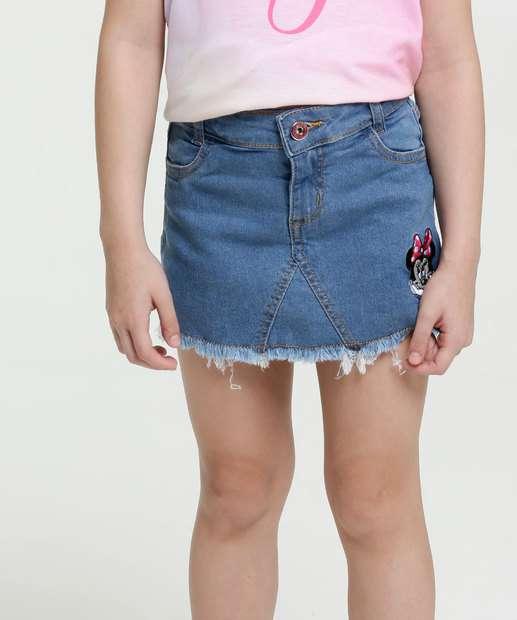 Image_Short Saia Infantil Jeans Bordado Minnie Disney
