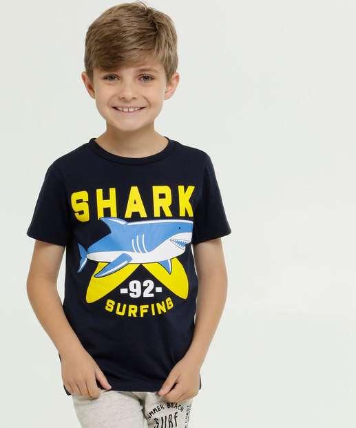 Image_Camiseta Infantil Estampa Tubarão Manga Curta MR