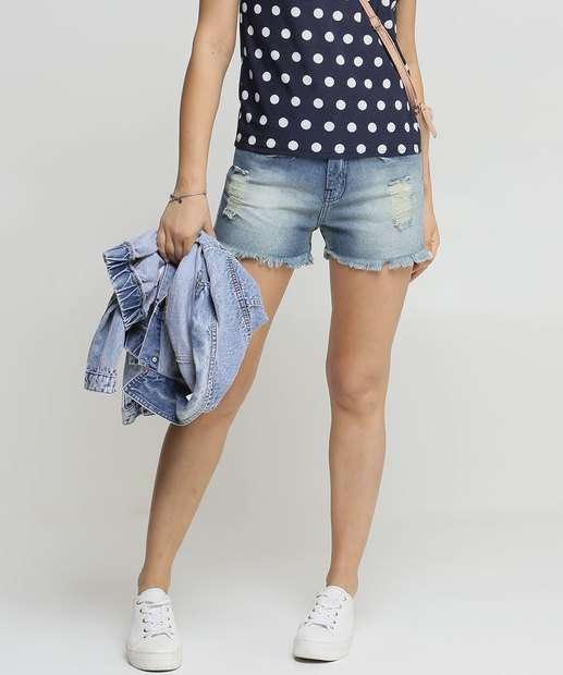 Image_Short Feminino Jeans Destroyed Barra Desfiada