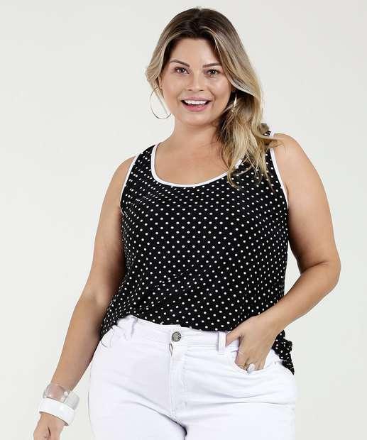 Image_Regata Feminina Estampa Bolinhas Plus Size Luktal
