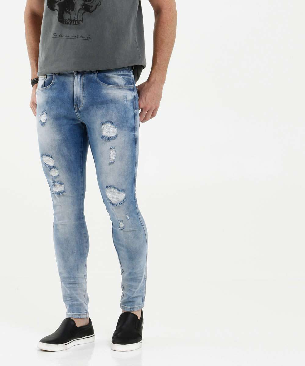 Calça Masculina Jeans Skinny Destroyed MR