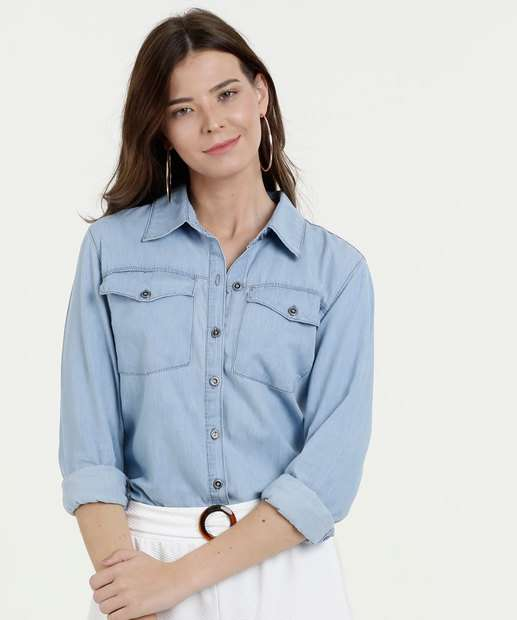 221632828 Camisa Feminina Jeans Bolso Manga Longa Marisa · R  99 ...