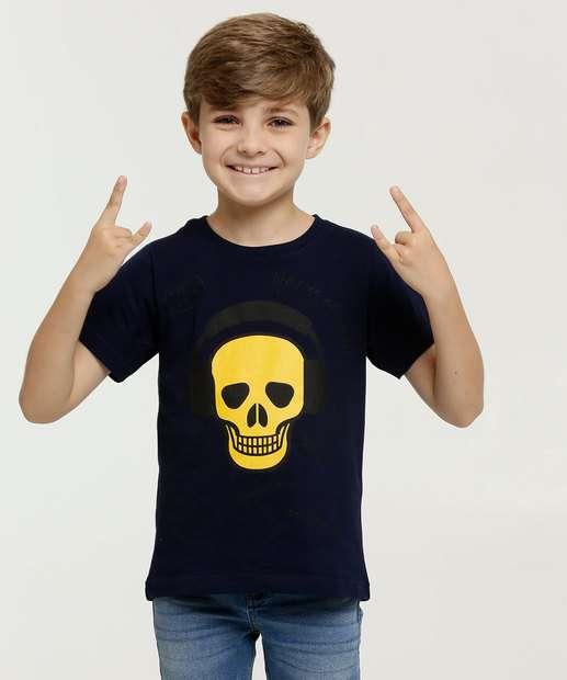 Image_Camiseta Infantil Estampa Caveira Manga Curta
