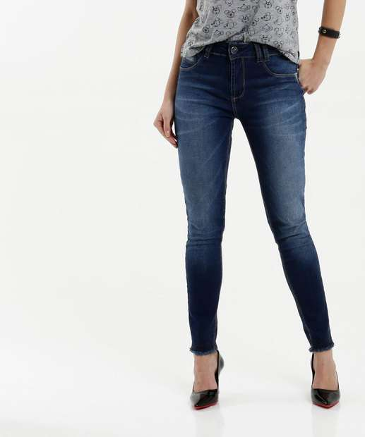 Image_Calça Feminina Jeans Barra Desfiada Skinny Sawary