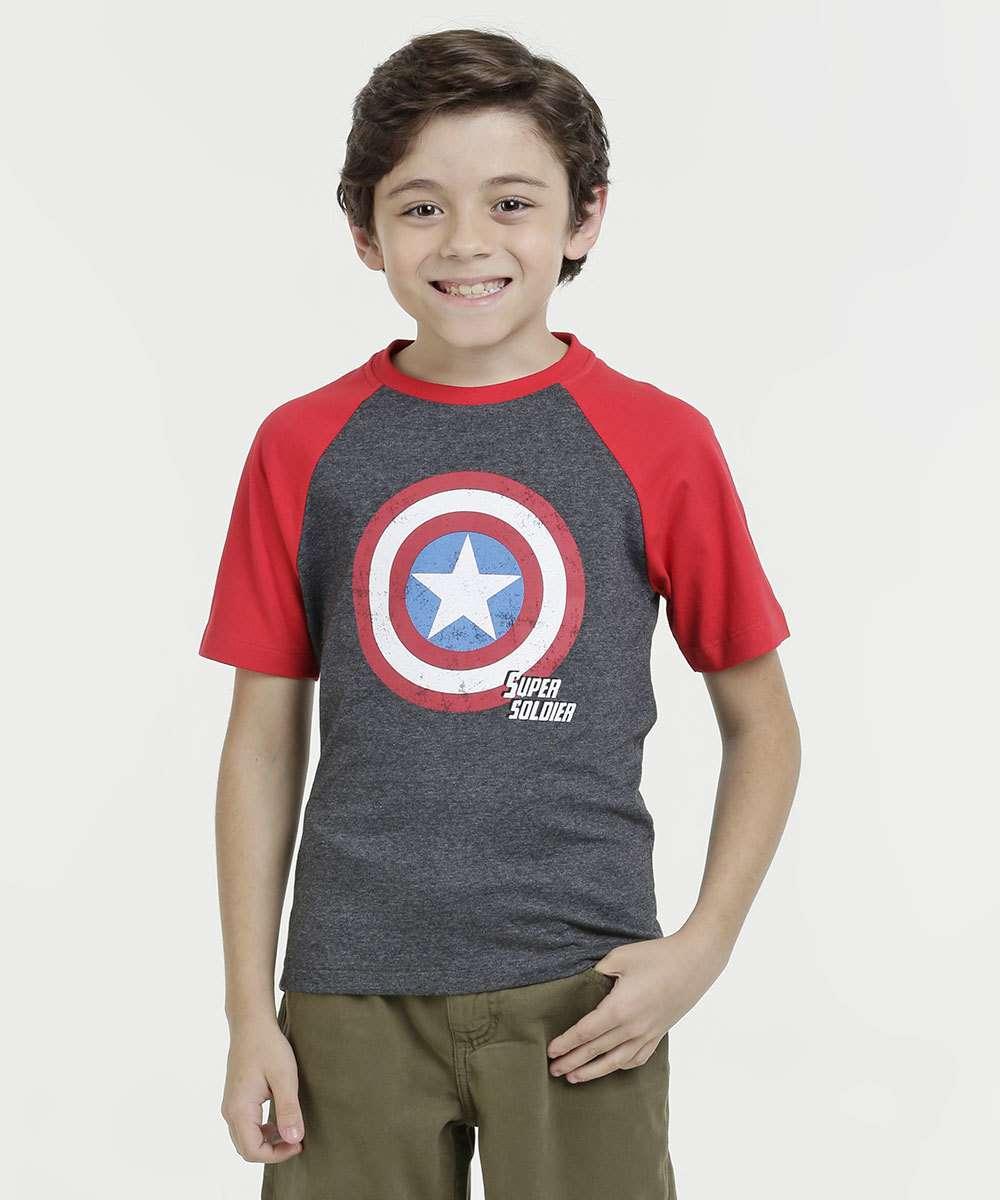 72cdaecd9 Camiseta Infantil Estampa Capitão América Marvel