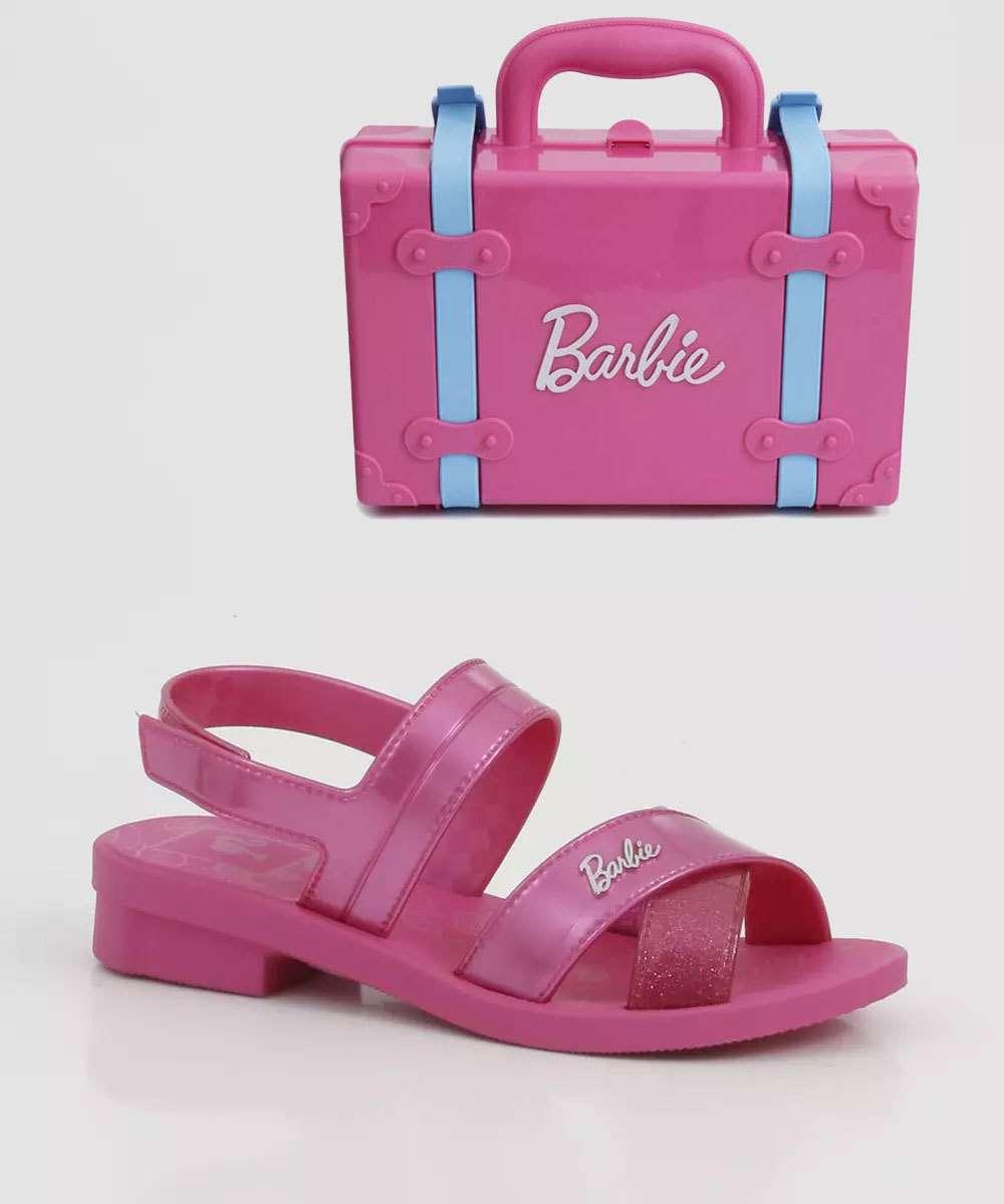 Sandália Infantil Barbie Volta Ao Mundo Brinde Grendene Kids