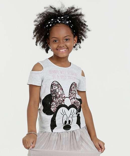 Image_Blusa Infantil Open Shoulder Estampa Minnie Paetês Disney