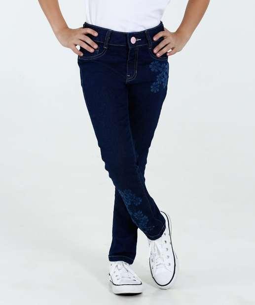 Image_Calça Infantil Jeans Estampa Flores Marisa