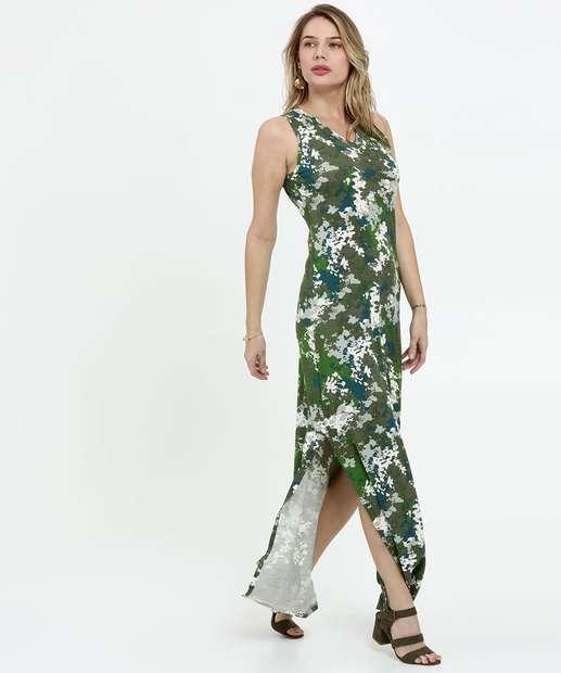 Image_Vestido Feminino Longo Estampa Camuflada Sem Manga