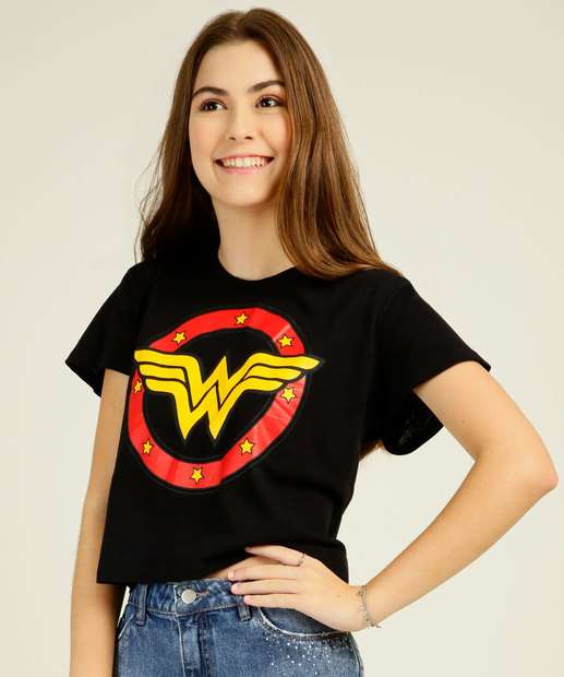 Image_ Blusa Juvenil Mulher Maravilha Liga da Justiça Tam 10 a 16