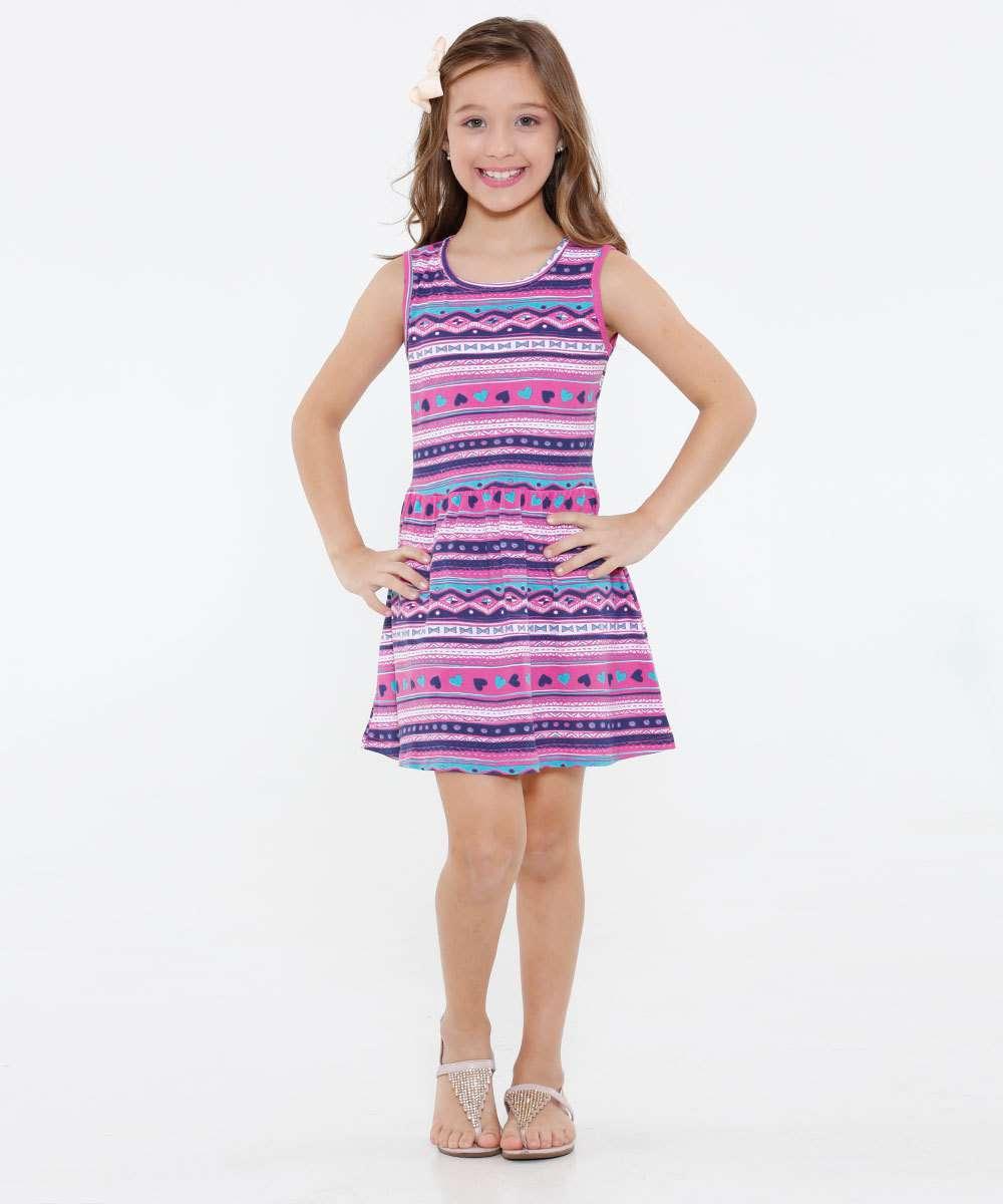 Vestido Infantil Estampa Étnica Marisa