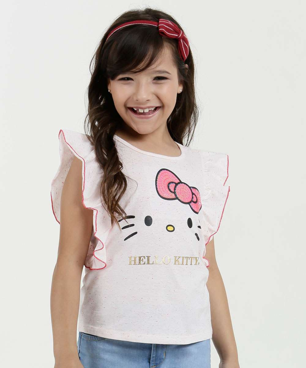 Blusa Infantil Estampa Hello Kitty Manga Curta Sanrio