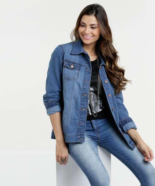 Image_Jaqueta Feminina Jeans Floral Mix Jeans