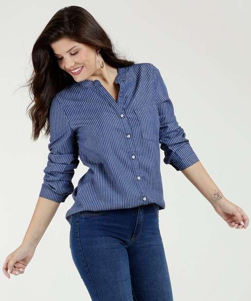 cb7042f2c4 Camisa Feminina Jeans Listrada Manga Longa Marisa
