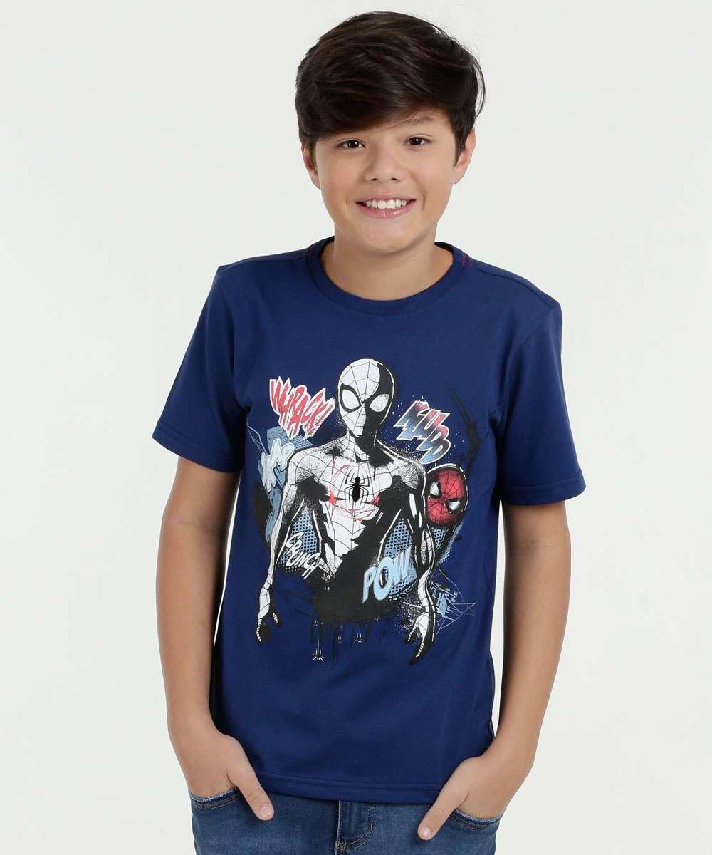 Camiseta Infantil Estampa Homem Aranha Manga Curta Marvel