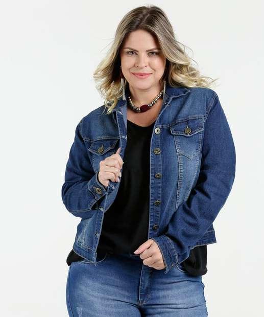 Image_Jaqueta Feminina Jeans Bolsos Plus Size Razon