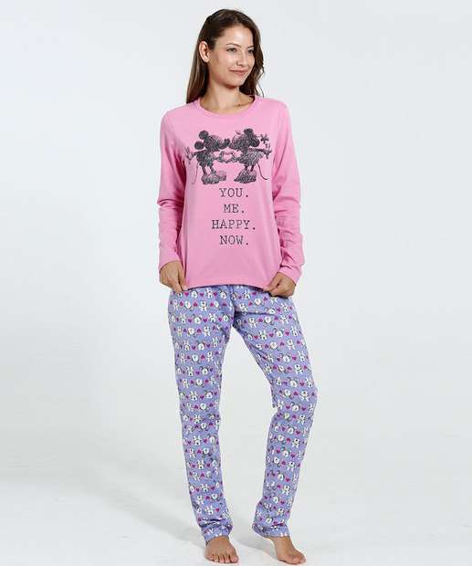 Image_Pijama Feminino Estampa Minnie e Mickey Disney